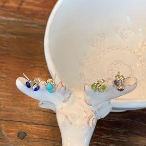 Real Gemstone Post & Clutch Earrings - NWOT